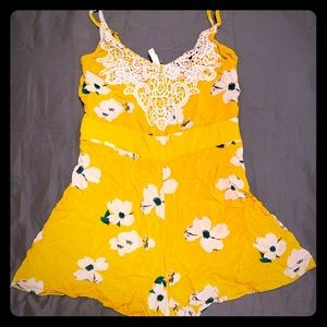 Yellow Romper w/ Floral Pattern